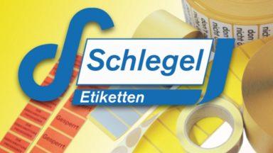 Das Logo von Schlegel Etiketten mit mehreren Etikettenexemplaren