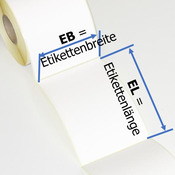 Die Etikettenbreite EB und die Etikettenlänge EL der Thermodirektetiketten