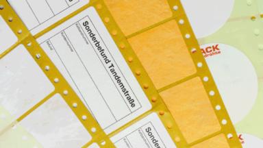 EDV-Etiketten mit Lochrändern und Beschriftungsflächen