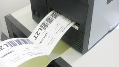 Etiketten werden durch einen Thermotransferdrucker erstellt