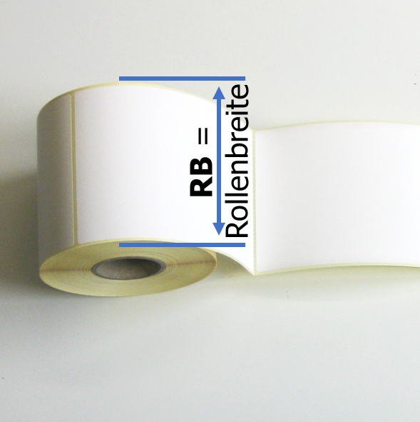 Die markierte Breite RB der Thermodirektetiketten